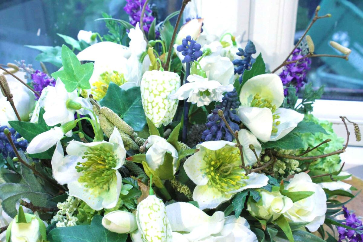 A Hellebore, Fritillary, Muscari and Catkin Faux Flower Arrangements