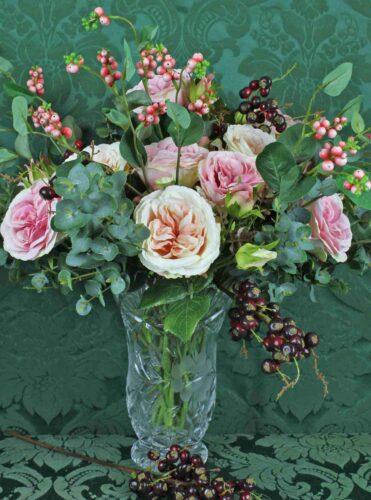 Bespoke Pink Roses in a Crystal Vase