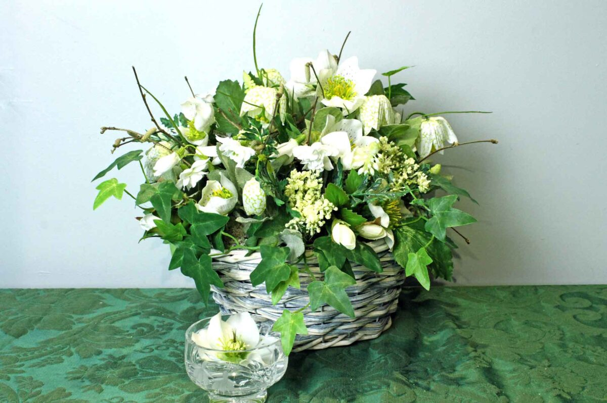 Winter Basket of Hellebores and Fritillaries